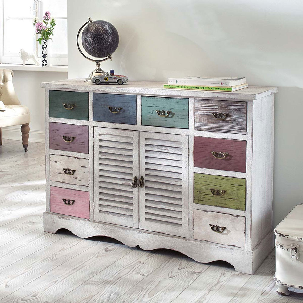 wei e shabby kommode mit pastell schubladen vintage m bel ideen. Black Bedroom Furniture Sets. Home Design Ideas