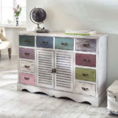 Weiße Shabby Kommode mit Pastell-Schubladen